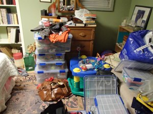 How do we have so much stuff? Stuff in the basement.