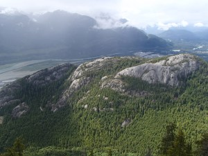Looking down at The Chief from The Summit with Howe Sound in the background.