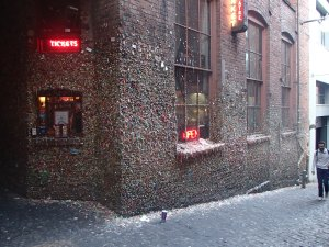 Rather gross prelude to dinner, the chewing gum wall