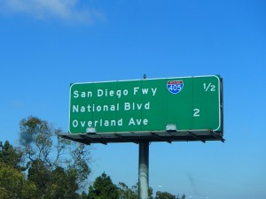 "Since we were stopped I took a picture of this sign because it says ""Overland Ave"""