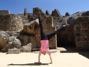 Well who wouldn't cartwheel at Machu Picchu