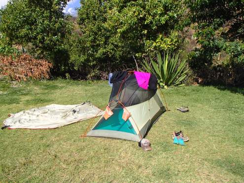 Using our tent as a drying rack