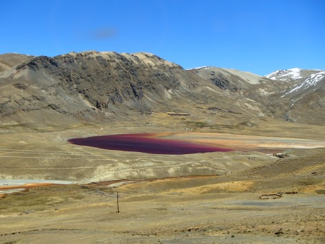 A local lake coloured by the high copper content