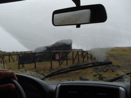 Moai viewing from the car in the pouring rain